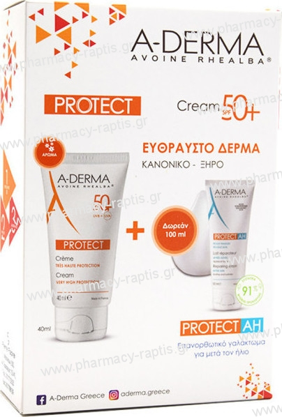A-Derma Promo Protect Creme Tres Haute Protection SPF50+ 40ml & ΔΩΡΟ Protect AH Lait Reparateur Apres Soleil 100ml