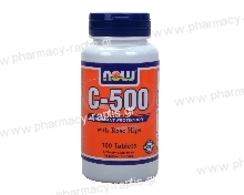 Now Foods Vitamin C-500 (with ROSE HIPS & Bioflavonoids) 100tabs